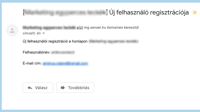 Adminisztrátornak küldött email - Új felhasználó regisztrációja - Sensei