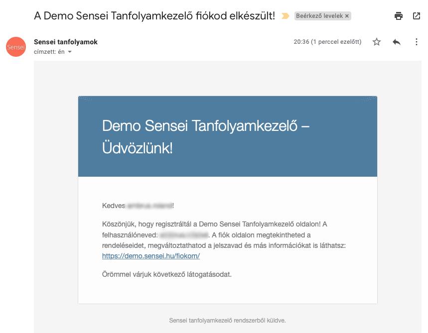 Email a regisztráció után a Tanulónak - Sensei